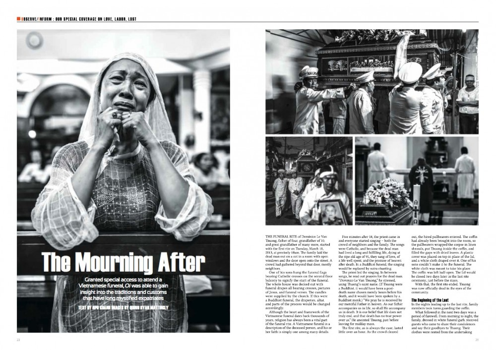 Tearsheets from an assignment covering A Vietnamese Catholic funeral.